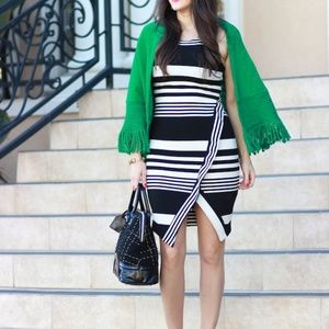 Bar III Striped Midi Envelope Dress Black + White
